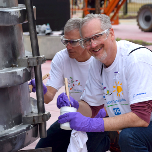 PPG Volunteers Revitalize Iconic Rocket Replica for Lunar Landing's 50th Anniversary